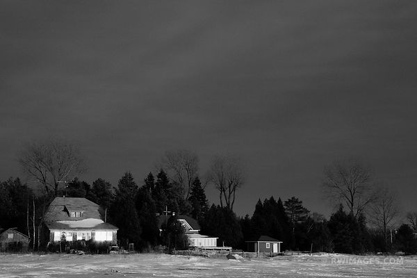 END OF WINTER DAY WASHINGTON ISLAND DOOR COUNTY WISCONSIN BLACK AND WHITE