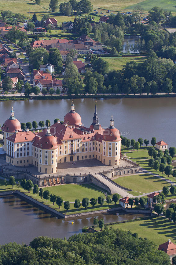 Aerial view of Moritzburg Castle, Saxony, Germany, June 2012