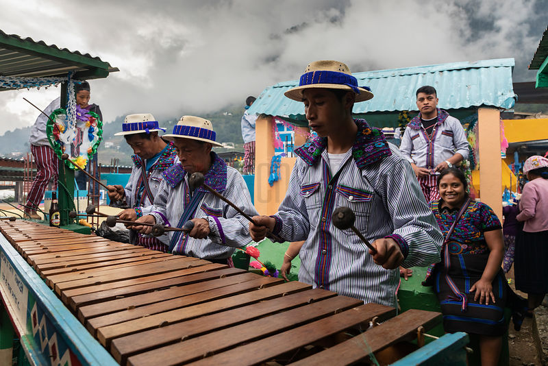 Local Musicians Play Marimba at a Family Grave Site