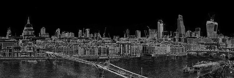 London skyline, St Paul's and the City white on black version