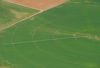 Aerial image of intensively cultivated farmland with irrigation pipes, Salamanca Region, Castilla y Leon, Spain, May 2011