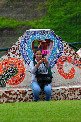Couple taking selfie in Parque del Amor / PArk of Love, Miraflores, Lima, Peru