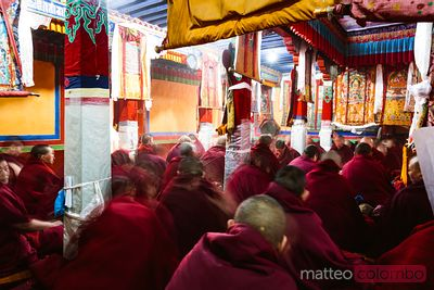 Buddhist nuns inside monastery, Lhasa, Tibet, China
