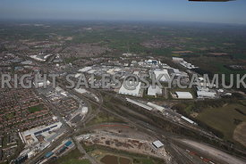 Crewe high level view showing the railway network into Crewe railway station, railway engineering workshops, Railway Sidings ...