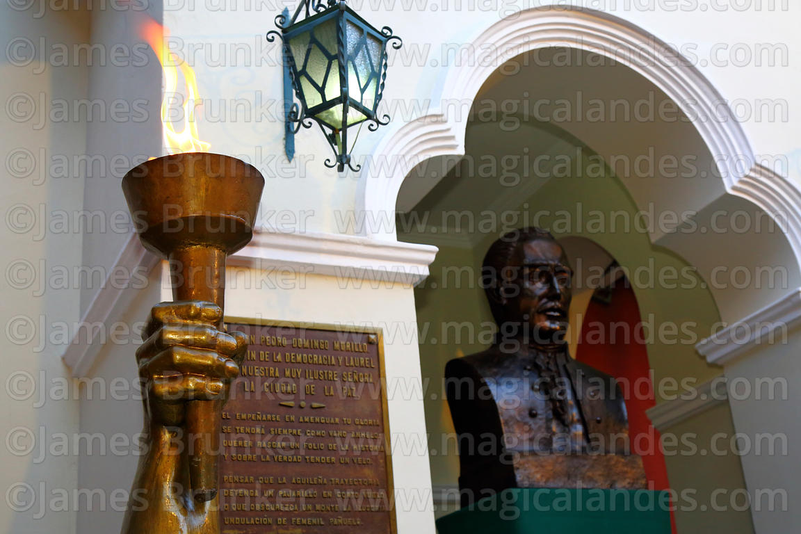 Burning liberty torch and bust of Pedro Domingo Murillo in the Casa de Murillo (his former home, now a museum), La Paz, Bolivia
