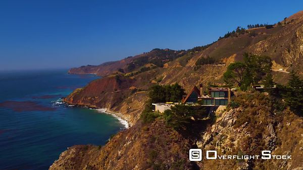 Aerial View Driving the Pacific Coast Highway Through Big Sur California