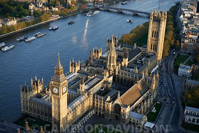 Aerial photograph of Parliment London, England, United Kingdom