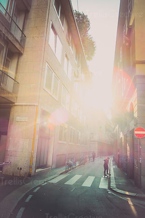 View of street with the morning sun  in city