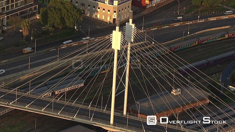 Aerial shot of the Nelson Mandela Bridge in Johannesburg Johannesburg Gauteng South Africa