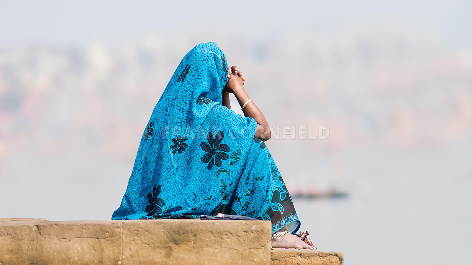 Woman in Blue Saree, Varanasi, India.