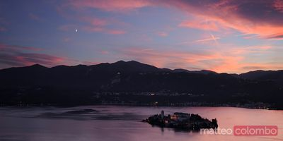 Sunset over lake Orta