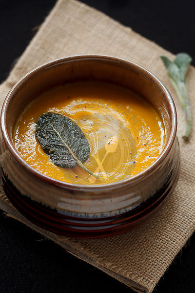 Butternut squash soup with sage leaf