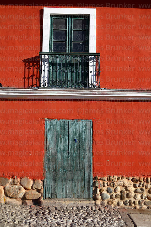 Doorway and window of Tambo Quirquincho museum building, La Paz, Bolivia