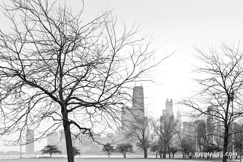 NORTH LOOP FROM LINCOLN PARK CHICAGO BLACK AND WHITE
