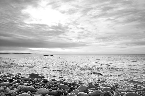 ROUND BOULDERS AT THE ROCKY BEACH OTTER COVE ACADIA NATIONAL PARK BLACK AND WHITE