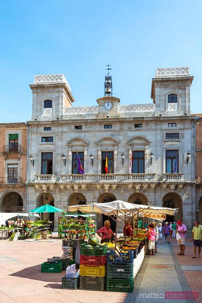 Local farmers market in the main square, Avila, Spain