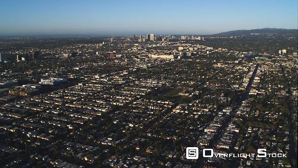 Flying Over Residential Area, Santa Monica in Distance.