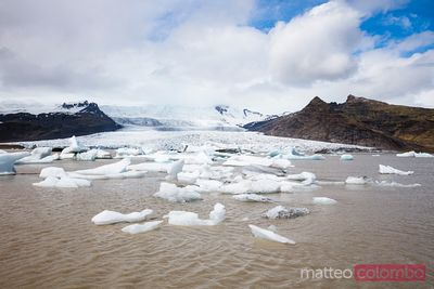 Fjallsarlon glacial lagoon in summer, south Iceland