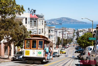 Iconic cable car and San Francisco bay, California, USA