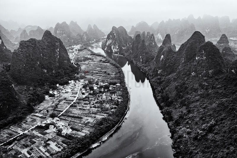 Aerial View of the Li River from the Xianggong Mountain Viewpoint