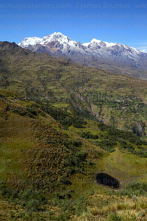 View across valleys to Chillkani and Mts Illampu (L) and Ancohuma (R), Cordillera Real, Bolivia
