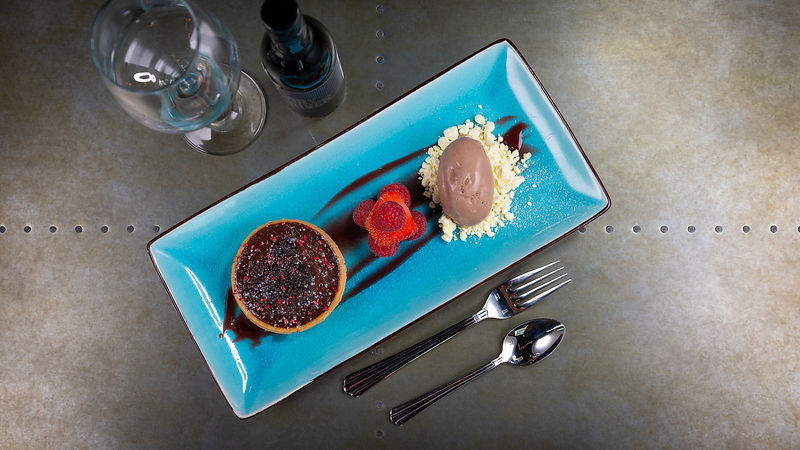 Food Presented on Blue Plate