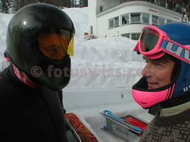 Christopher Bledisloe President of the SMTC Saint Moritz Tobogganing Club at Junction with Uli Burgerstein