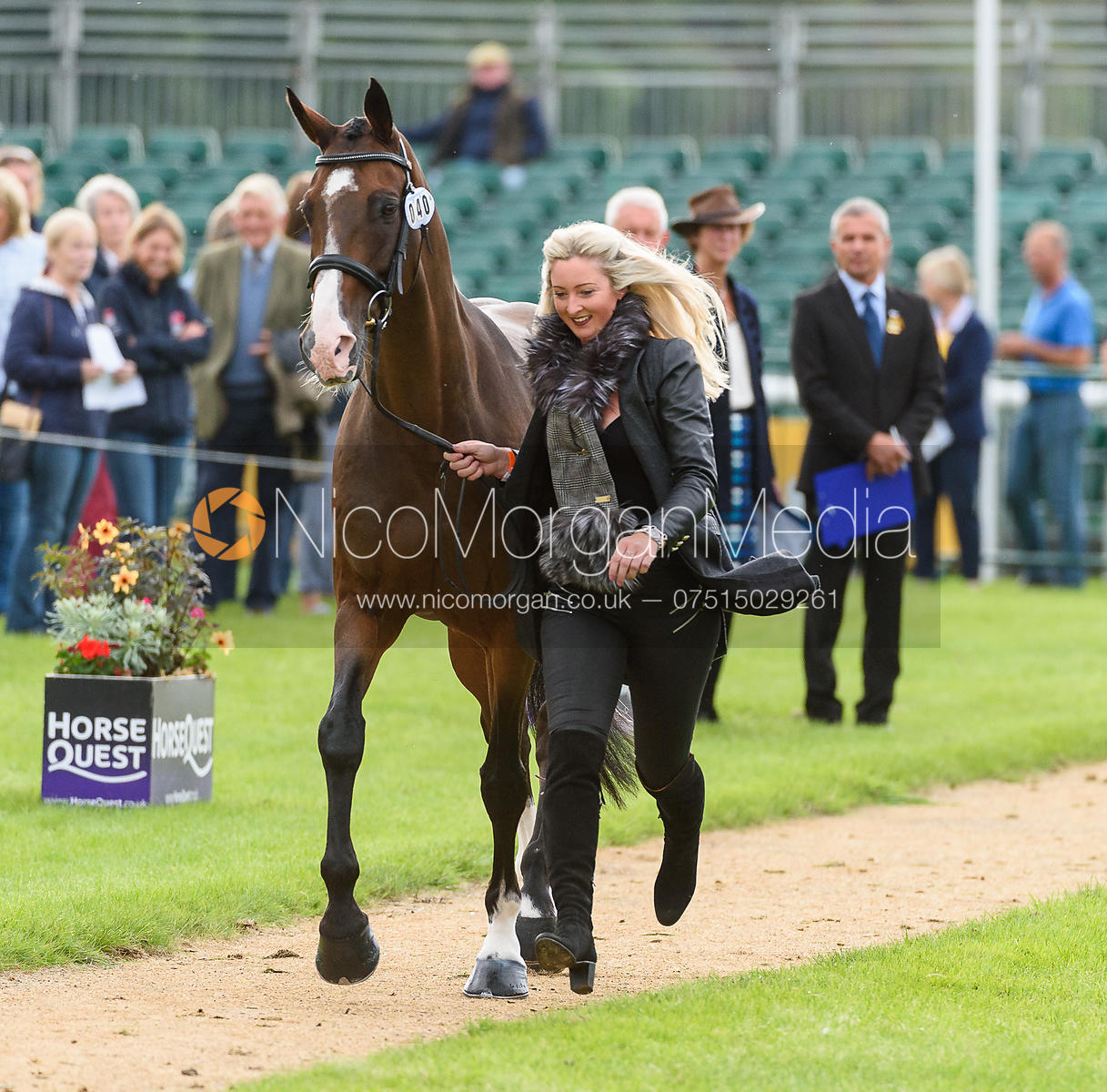 Georgie Spence and WII LIMBO at the trot up, Land Rover Burghley Horse Trials 2018