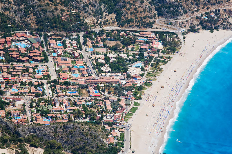 Aerial view of Oludeniz and Belcekiz beach, known as the 'Turquoise coast', Oludeniz near Fethiye, Mediterranean Coast, Turke...