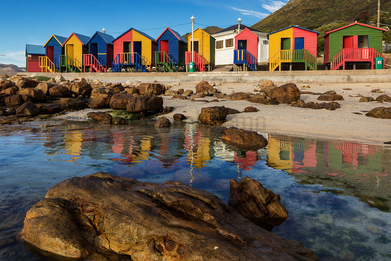 Bathing Huts at St James Reflected in a Tidal Pool