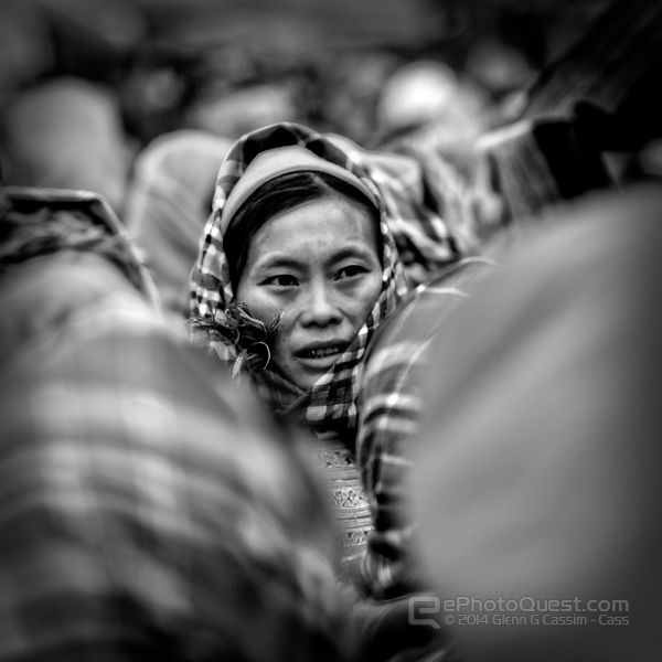 Flower Hmong Lady in Crowded Market