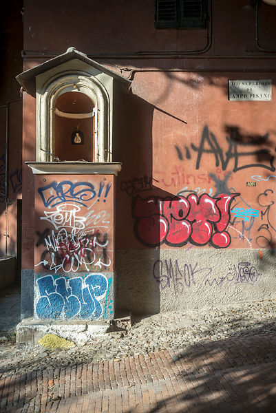 A Street Shrine And Graffiti Genoa