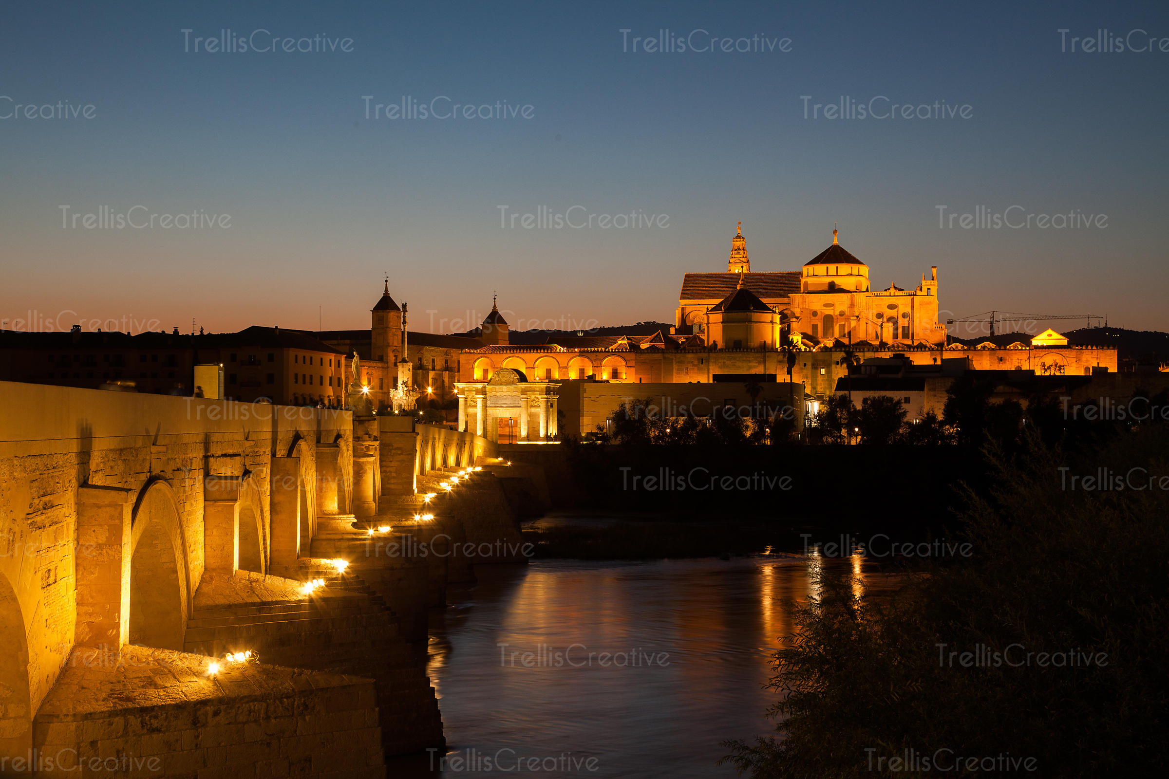 The Roman Bridge with the Cathedral–Mosque of Córdoba in the background.