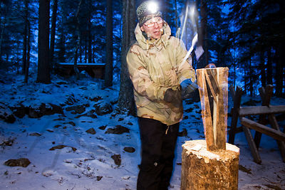 Hiker makes firewood