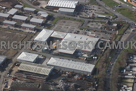Widnes aerial photograph of B & Q and Widnes Trading Estate Dennis Road looking towards Ashley Way