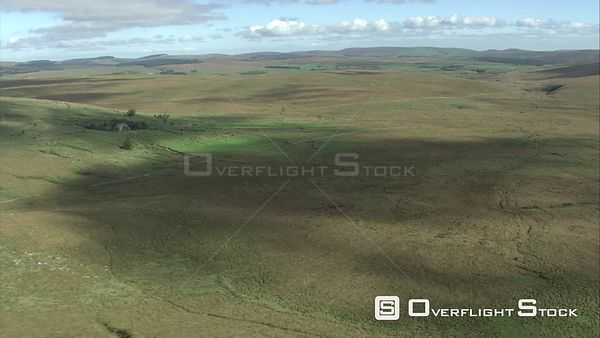 Aerial view of Fox Tor Mire, Dartmoor National Park, Devon, England, UK, October 2015.