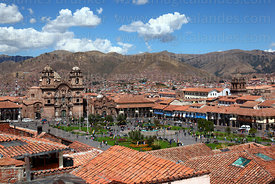 View of  Plaza de Armas with La Compañia de Jesus (L) and La Merced (R) churches, Cusco, Peru