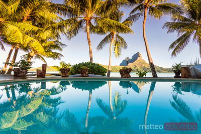Infinity pool of a luxury resort, Bora Bora, French Polynesia
