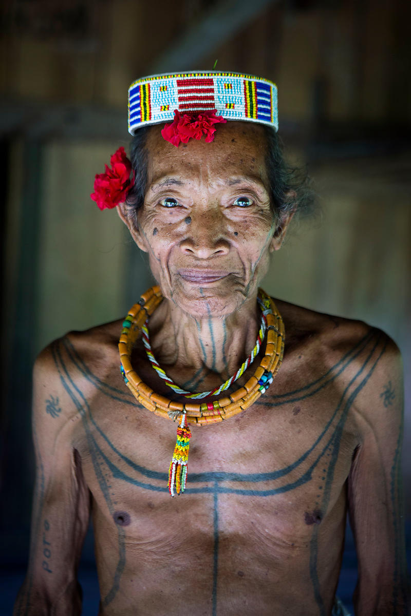 Portrait of Poto, 61, shaman in Ugai, Pulau Siberut, Sumatra, Indonesia