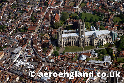 aerial photograph of Canterbury Cathedral  Kent England UK