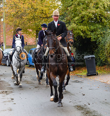 Stuart Campbell leaving the meet. The Cottesmore Hunt at Braunston