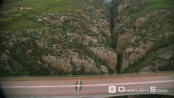 Aerial shot over a river gorge bridge. Eastern Cape South Africa