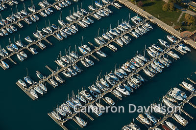 Aerial Chicago Illinois sailboats