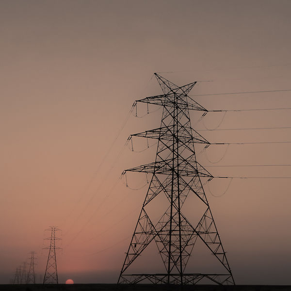 Qatar. Sunset between pylons.