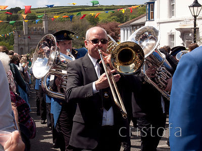 a trombonist in the Helston Flora Day parade