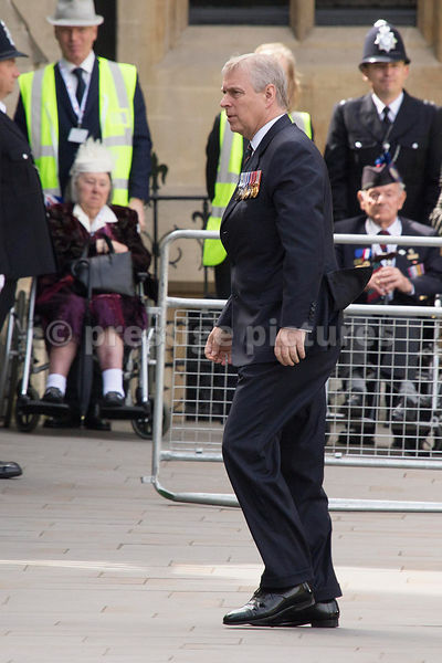 Prince Andrew arriving at Westminster Abbey
