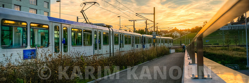 Panorama - EPFL TL metro station at sunset time