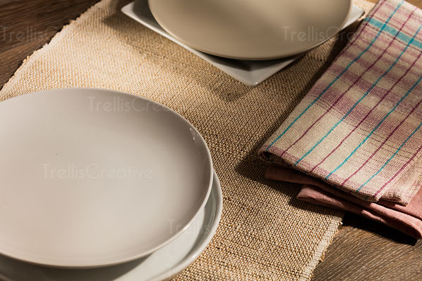 Place settings on a wooden table