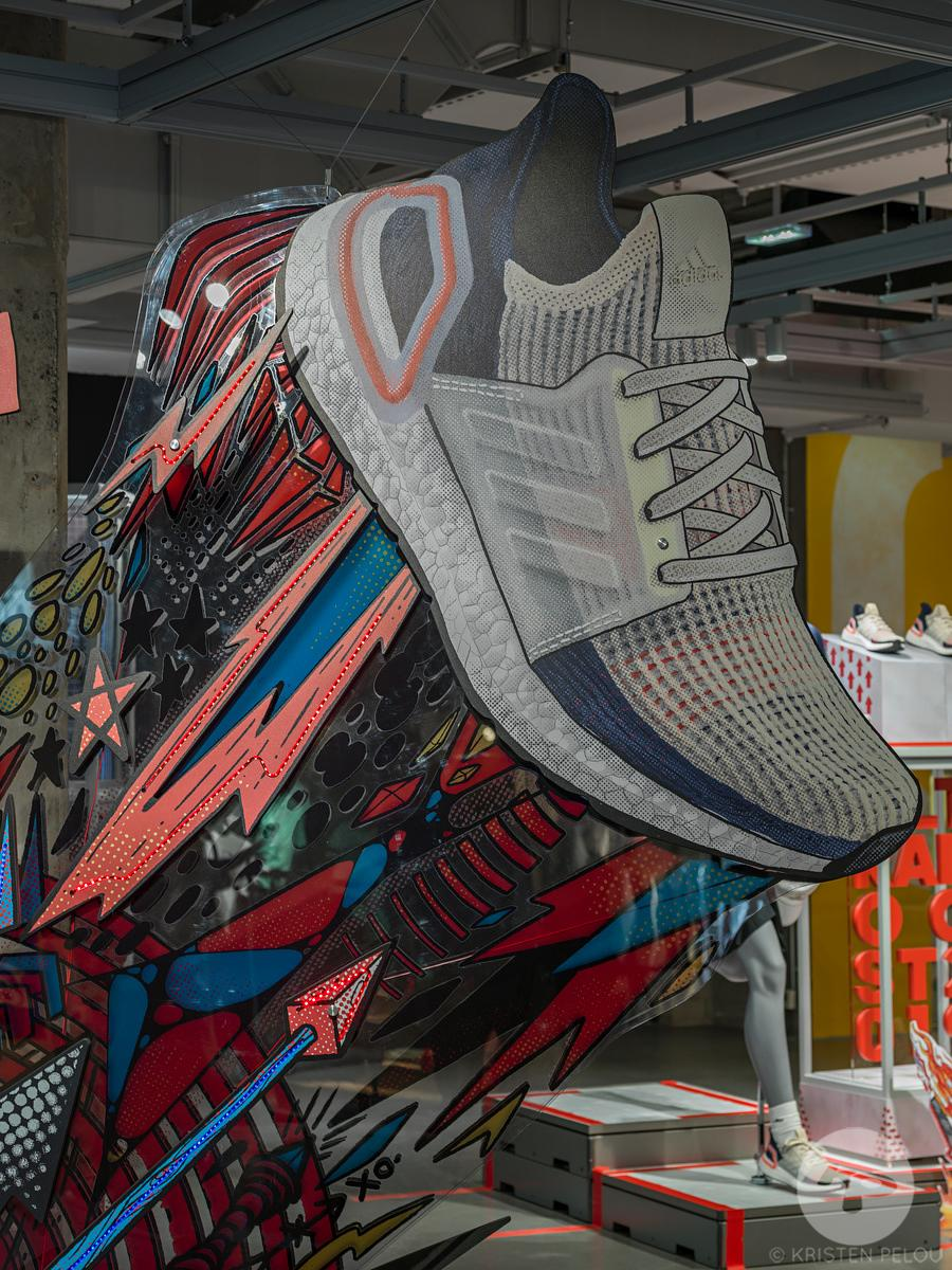 UltraBoost campain design by Roundhouse Agency in the Parisian Adidas Fragship located on the Champs Elysees Avenue, Paris, F...