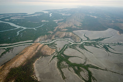 Aerial of Mud flats and mangroves of Derby, King Sound, Western Australia